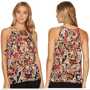 London Times Halter Ruffle Floral Top SP